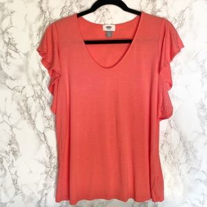 Old Navy Ruffle Sleeve Pink Top Size Large